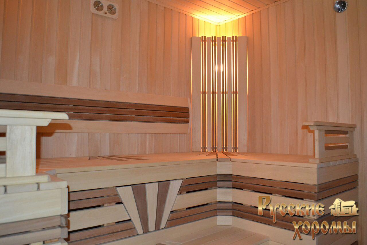 дизайн бани из оцилиндрованного бревна внутри фото