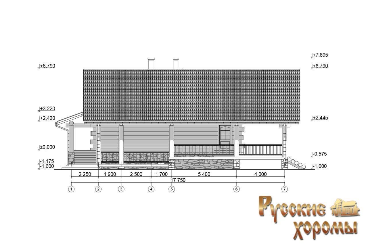 Проект рубленного двухэтажного дома с баней Бристоль