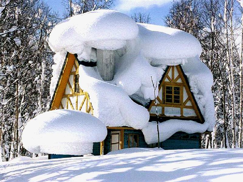 Картинки деревянного домика зимой