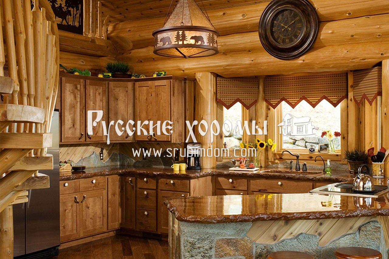 Дизайн кухни в доме из сруба