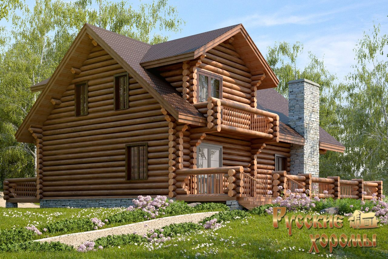 Дома из оцилиндрованного бревна с балконом.
