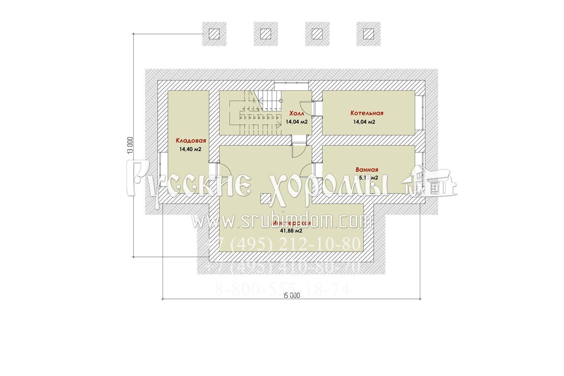 Проект дома с цоколем  - рубленный дом 450 мм Лукоморье